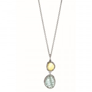 Silver Gem Candy L Inked Pendant With Blue Topaz, Citr Ine And Diamonds