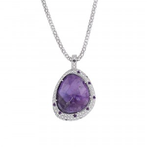 Silver Large Popcorn Teardrop Pendant With Amethyst On 18In Chain