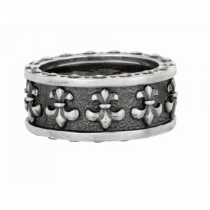 Silver Black Rhodium Textured Fleur De Lis Ring