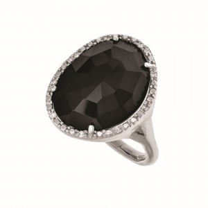 Silver Gem Candy Black Onyx Ring With Diamond
