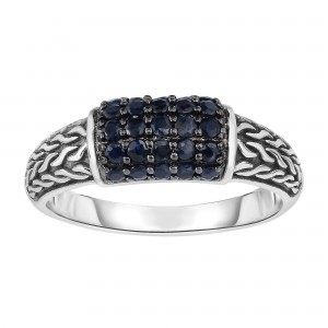 Silver Graduated Graduated Woven Ring With Black Sapphire