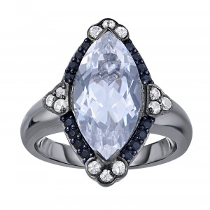 Silver Gem Candy Marquis Ring With Rock Crystal Quartz, Black And White Sapphire