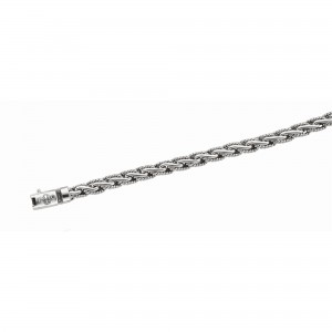 Silver Rhodium Finish Large Woven Bracelet With Box Clasp