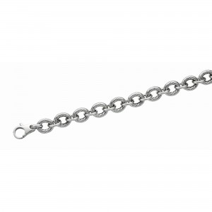Silver 18In Textured Italian Cable Link Bracelet With Lobster Clasp