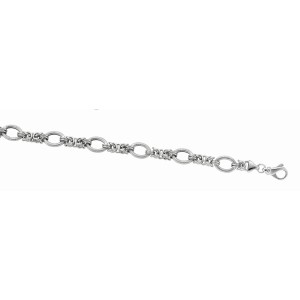 Silver Rhodium Finish Shiny Textured Italian Cable Bracelet With Lobster Clasp