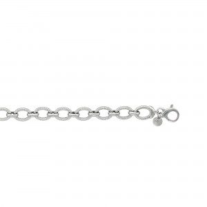 Silver Rhodium Finish Textured Italian Cable Oval Link Bracelet With Figure 8 Clasp