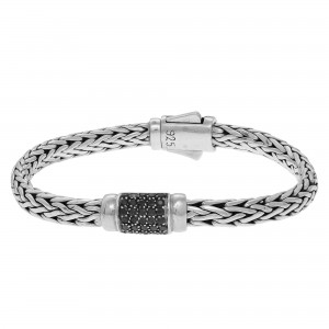 Silver 4X6Mm Woven Bracelet With Black Sapphire
