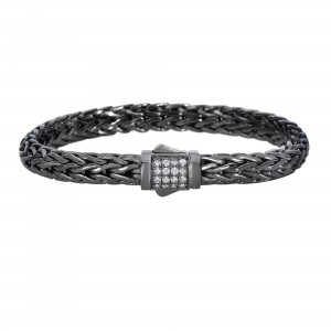 Silver Black Rhodium Finish Woven Bracelet With Box Clasp And White Sapphire