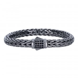 Silver Black Rhodium Finish Woven Bracelet With Box Clasp And Black Sapphire