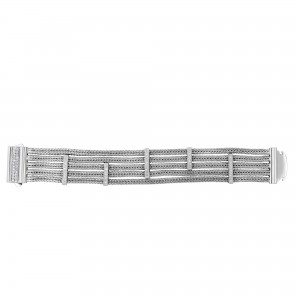 Silver 5-Strand Wide Multi-Station Woven Bracelet With Box Clasp And White Sapphires