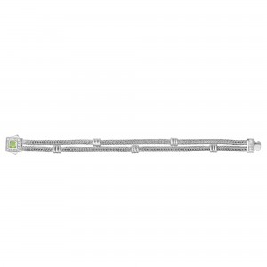 Silver Double-Strand Woven Bracelet With Cushion Peridot And White Sapphire