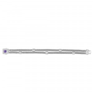 Silver Double-Strand Woven Bracelet With Cushion Amethyst And White Sapphire