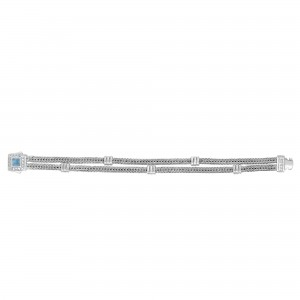 Silver Double-Strand Woven Bracelet With Cushion Blue Topaz And White Sapphire