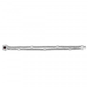 Silver Double-Strand Woven Bracelet With Cushion Garnet And White Sapphire