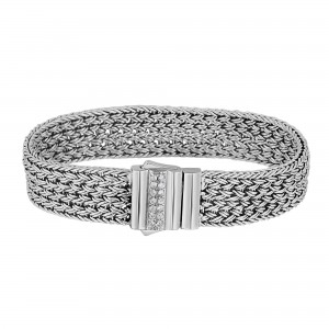 Silver 15Mm Shiny Woven Bracelet With White Sapphire