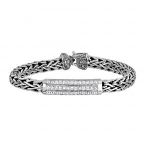 Silver 7Mm Woven Bracelet White Sapphire