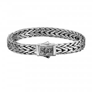 Silver Woven With Rhodium Finish Bracelet With Box Clasp