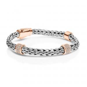 Silver La Vie En Rose Woven Bracelet With White Sapphires