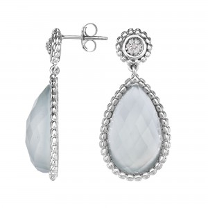 Silver Teardrop Popcorn Earrings With Push Back Clasp, Aqua Chalcedony And Diamond