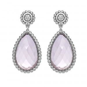 Silver Teardrop Popcorn Earrings With Push Back Clasp, Rose Quartz And Diamond