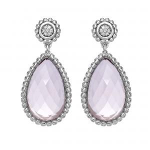 Silver Teardrop Popcorn Earrings With Push Back Clasp, Rose Quartz And Diamond