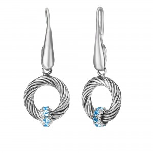 Silver Italian Cable Circle Drop Earrings With Blue Topaz