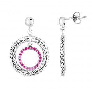 Woven Silver Round Drop Earrings With Pink Sapphires