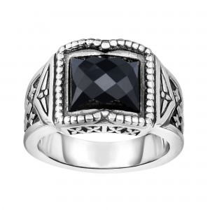 Silver Oxidized Engraved Square Black Onyx Ring