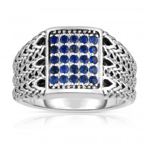 Woven Silver Men'S Signet Ring With Blue Sapphires.