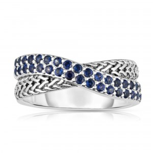 Woven Silver Crossover Ring With Blue Sapphires.