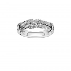 Italian Cable Sterling Silver Ring With .05Ct Diamond X