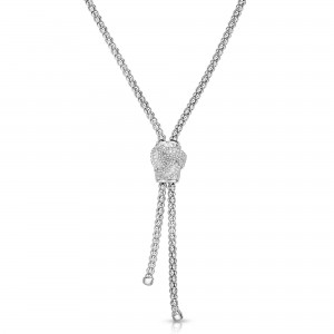 Sterling Silver Popcorn Love Knot Lariat With .12Ct Diamonds