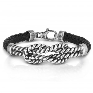 Men'S Silver Cable Knot Bracelet With Woven Black Leather