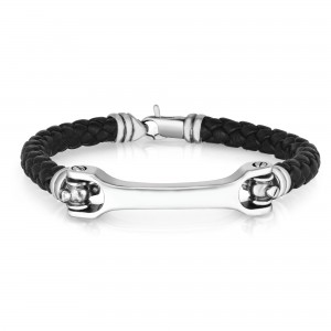 Men'S Silver Bar Bracelet With Woven Black Leather