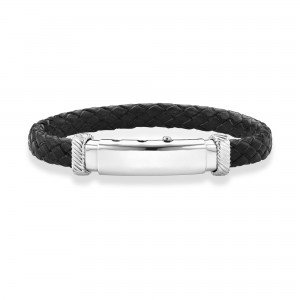 Adjustable Bracelet In Sterling Silver And Flat Black Italian Leather