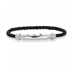 Adjustable Bracelet In Sterling Silver And Round Black Italian Leather