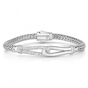 Woven Silver Large Interlocking Link Bracelet With White Sapphires