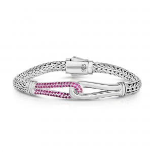 Woven Silver Large Interlocking Link Bracelet With Pink Sapphires