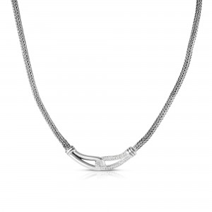 Woven Silver Large Interlocking Link Necklace With White Sapphires