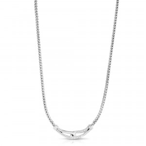 Woven Silver Medium Interlocking Link Necklace With White Sapphires