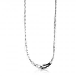 Woven Silver Medium Interlocking Link Necklace With Black Sapphires