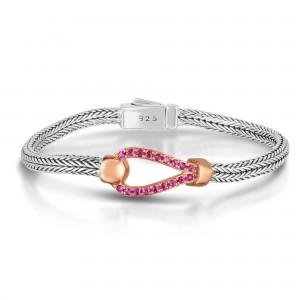 Woven Silver La Vie En Rose Hook Bracelet With Pink Sapphires