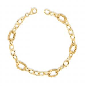 14K Gold Popcorn Petite Link Bracelet