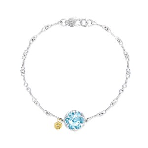Crescent Gemstone Bracelet featuring Sky Blue Topaz