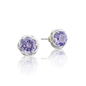 Crescent Crown Studs featuring Amethyst