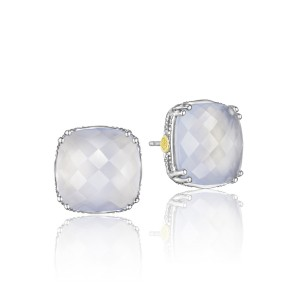 Bold Cushion Cut Gem Stud featuring Chalcedony