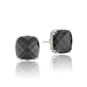 Bold Cushion Cut Gem Stud featuring Hematite
