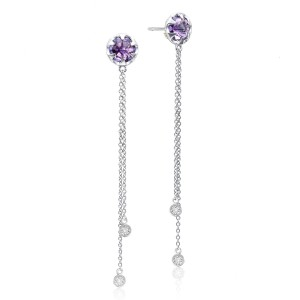 Drop Chain Earrings featuring Amethyst