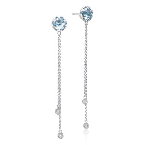 Drop Chain Earrings featuring Sky Blue Topaz