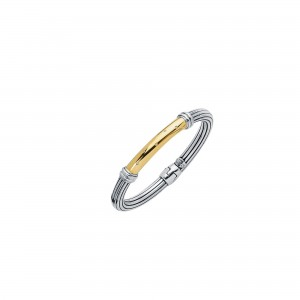 Silver And 18Kt Gold Italian Cable Bangle With Large Spring Ring Clasp And Diamonds Bar